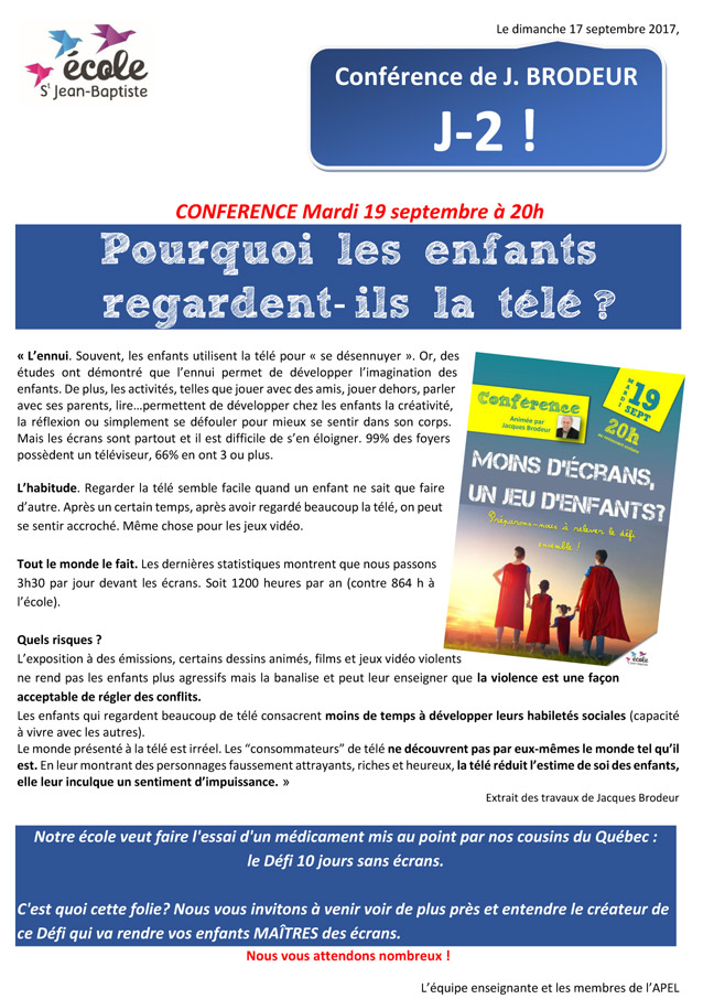 conference les enfants regardent la tele